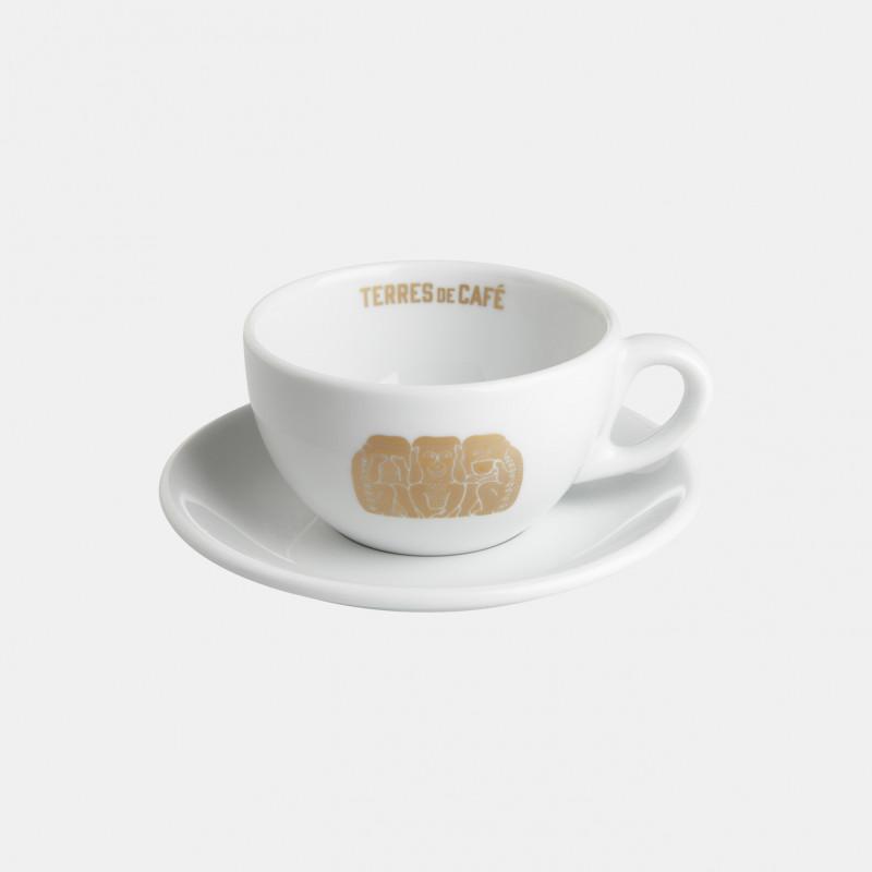 Cappuccino porcelain cup and saucer - Terres de café