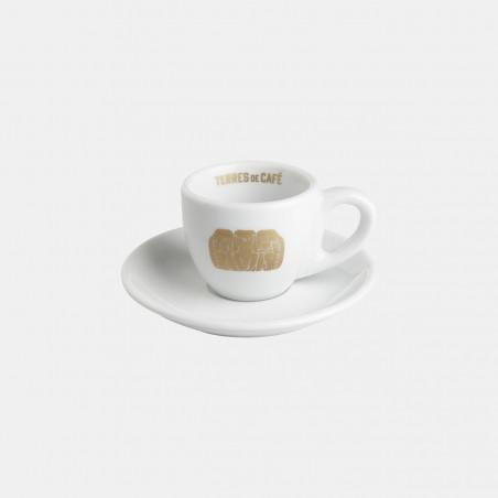 Tasse expresso en porcelaine tasse de café terres de café