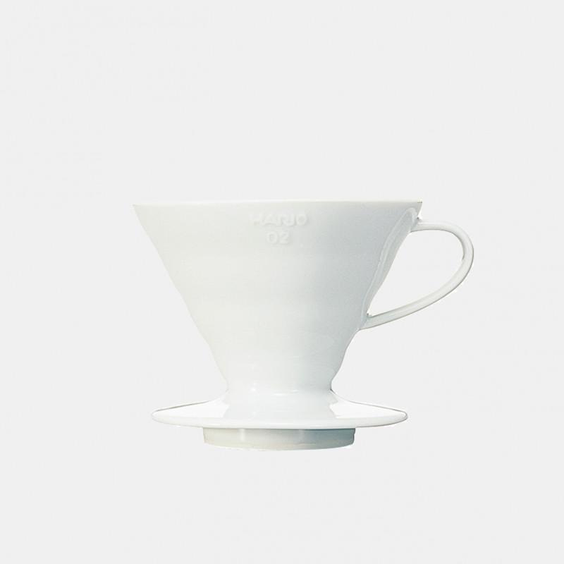 White ceramic dripper V60 02 - 1/4 cups HARIO