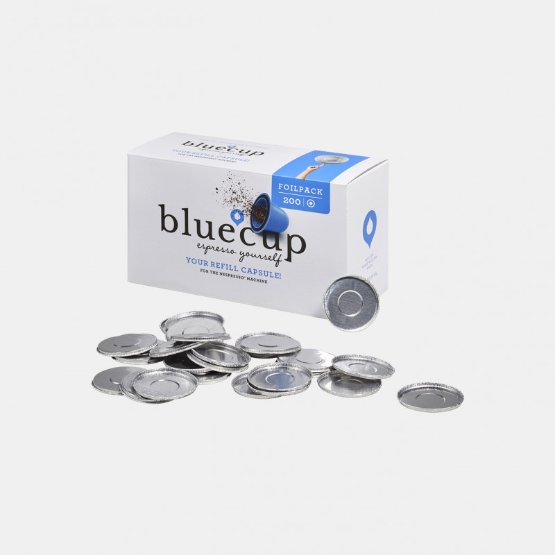 Bluecup aluminium foils compatible with Nespresso machine